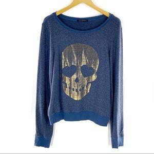 Wildfox Skull Baggy Beach Jumper Sweater Blue M